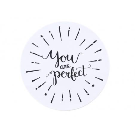 """Acheter Etiquette autocollante """"You are perfect"""" - blanc et noir - 0,15€ en ligne sur La Petite Epicerie - 100% Loisirs créa..."""