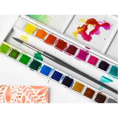 Acheter Palette de 24 demi-godets d'aquarelle / Peinture à l'eau - 31,99€ en ligne sur La Petite Epicerie - 100% Loisirs cré...