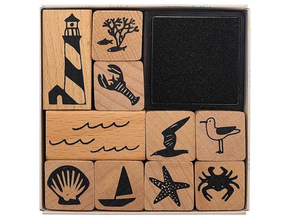 Acheter Kit de 10 tampons + 1 encreur noir - Thème marin - 8,49€ en ligne sur La Petite Epicerie - 100% Loisirs créatifs