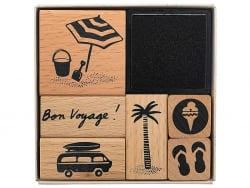 Acheter Kit de 6 tampons + 1 encreur noir - Bon voyage - 8,49€ en ligne sur La Petite Epicerie - Loisirs créatifs
