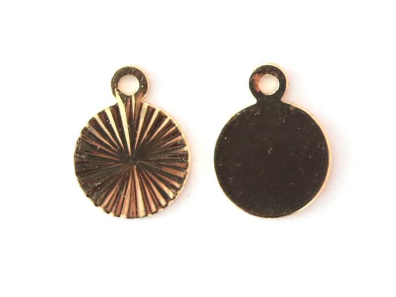 Acheter Breloque ronde striée 9 mm - dorée à l'or fin - 0,69€ en ligne sur La Petite Epicerie - Loisirs créatifs