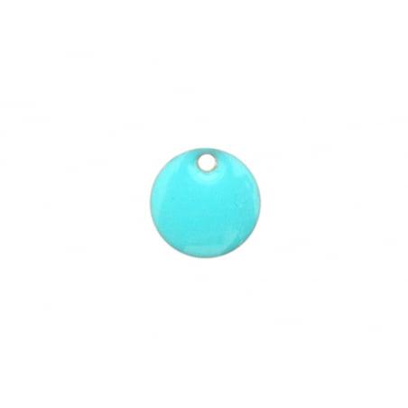 Acheter Breloque ronde émaillée - turquoise - 0,59€ en ligne sur La Petite Epicerie - Loisirs créatifs