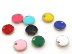 Acheter Breloque ronde émaillée - bleu - 0,59€ en ligne sur La Petite Epicerie - Loisirs créatifs