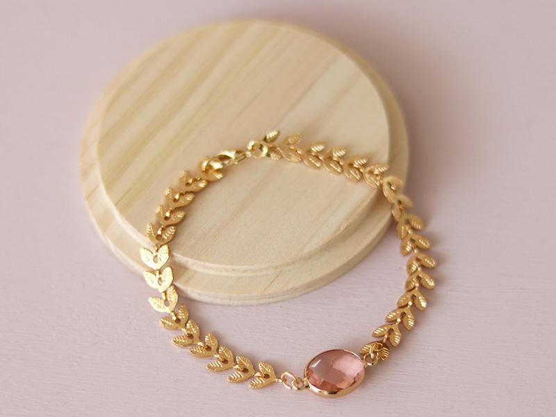 Bracelet Marion rose - Kit bijoux précieux dorés à l'or fin