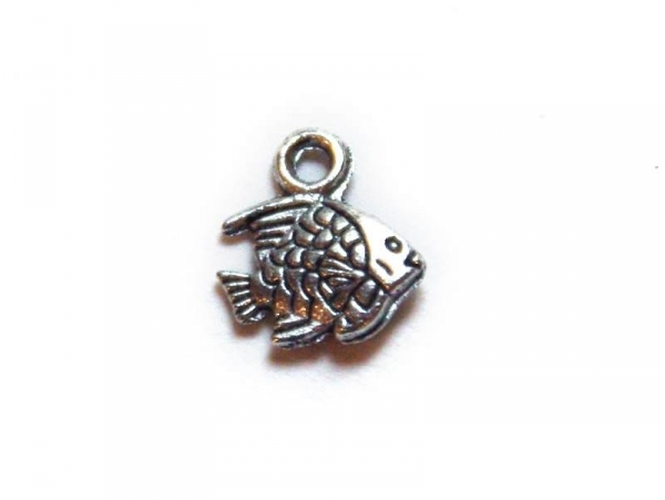 1 exotic fish charm - silver-coloured