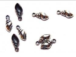 1 sea snail shell charm / dark silver-coloured