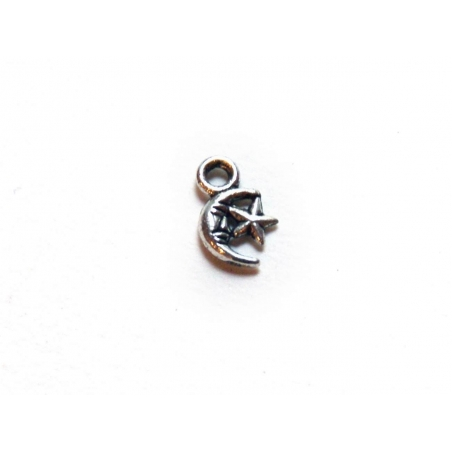 1 moon and star charm - silver-coloured