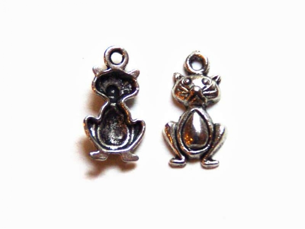 1 funny cat charm - silver-coloured