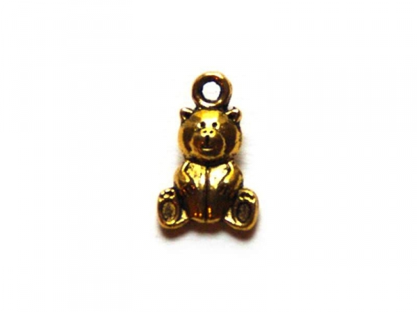1 teddy bear charm - gold-coloured