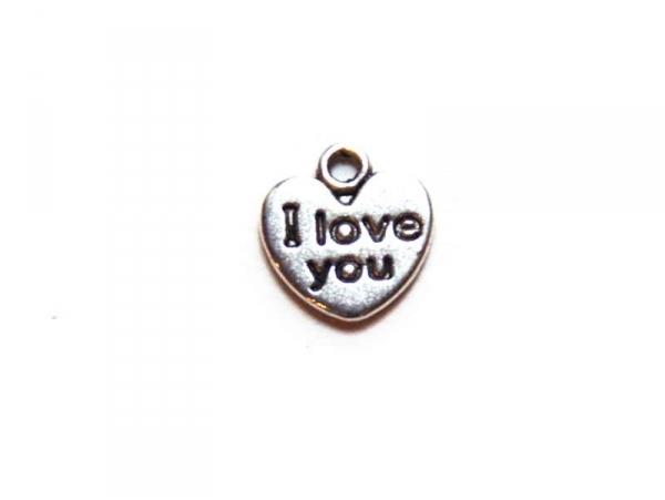"""Acheter 1 Breloque coeur """"i love you"""" argentée - 0,29€ en ligne sur La Petite Epicerie - Loisirs créatifs"""