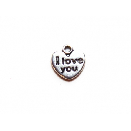"""1 silver-coloured, heart-shaped charm bearing the words """"I love you"""""""