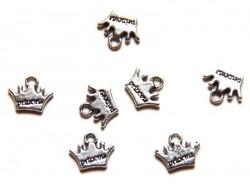 "1 Breloque couronne ""princess"" argentée"