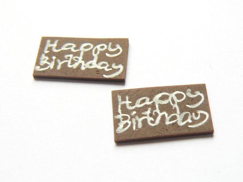 """Petite plaque pour gateau miniature """"Happy Birthday""""  - 1"""