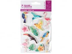 Acheter 12 stickers effet 3D - Oiseau tropical - 4,49€ en ligne sur La Petite Epicerie - Loisirs créatifs