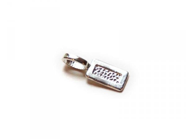 1 rectangualr charm base with glue pad - silver-coloured
