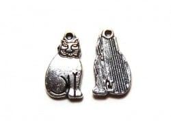 1 Breloque chat égyptien - argentée  - 1