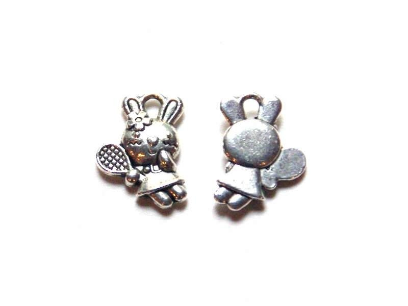 1 tennis-playing bunny charm - silver-coloured