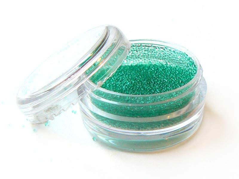 Mint green, translucent microbeads