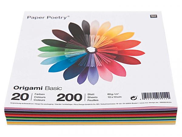 Acheter 200 feuilles de papier Origami - 20 couleurs - 10 x 10 - 3,69€ en ligne sur La Petite Epicerie - Loisirs créatifs