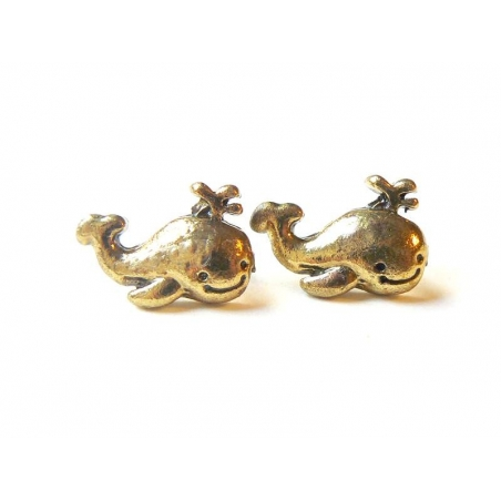 Whale earrings - gold-coloured