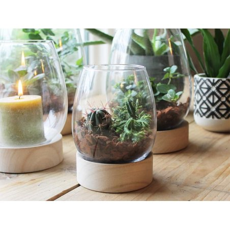 Acheter Vase en verre avec support en bois - 11,99€ en ligne sur La Petite Epicerie - Loisirs créatifs
