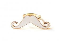Bague moustache Blanche