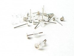 10 pairs of light silver-coloured stud earrings - silicone claps