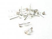 20 paires de puces d'oreilles argent clair - fermoir silicone