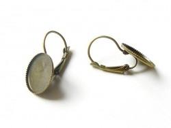 1 Paar Ohrringe für runde Cabochons - bronzefarben