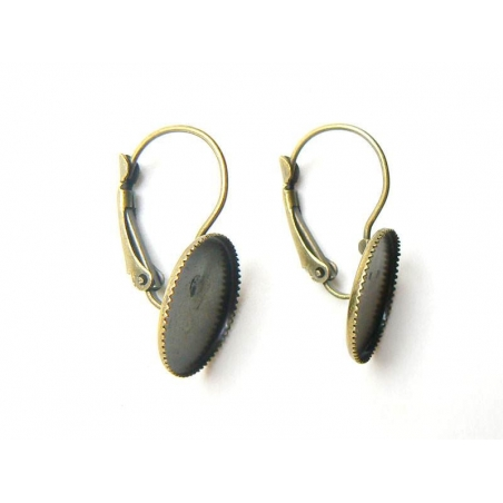1 pair of earring blanks for round cabochons - bronze-coloured