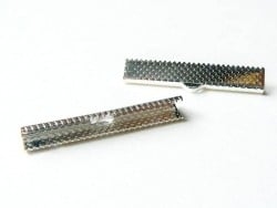 Ribbon crimp end for bias bindings, 35 mm - silver-coloured