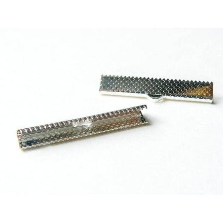 Fermoir griffe pour biais de tissu 35 mm - Argenté foncé  - 1