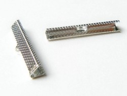 Fermoir griffe pour biais de tissu 35 mm - Argenté foncé