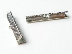 Ribbon crimp end for bias bindings, 35 mm - silver-coloured