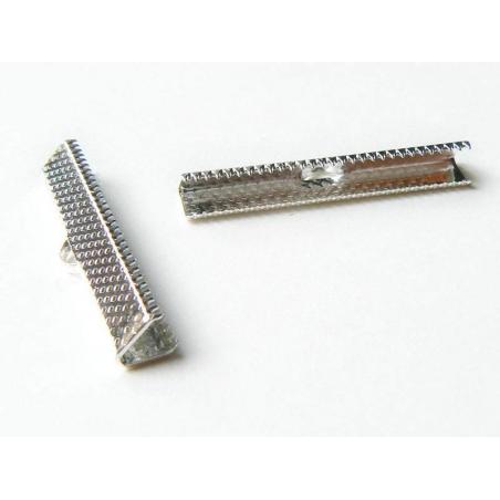 Fermoir griffe pour biais de tissu 35 mm - Argenté foncé  - 2