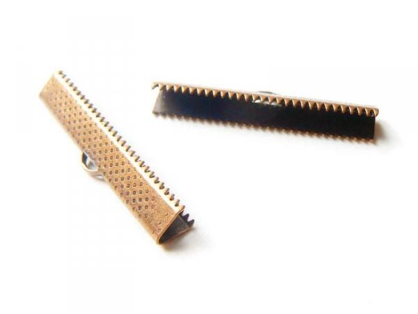 Fermoir griffe pour biais de tissu 35 mm - cuivre  - 1