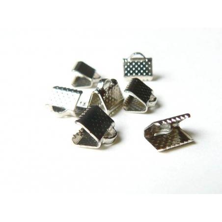 Ribbon crimp end for bias bindings, 8 mm - silver-coloured