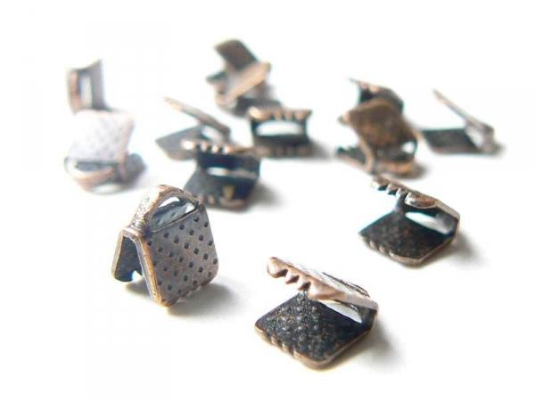 Ribbon crimp end for bias bindings, 5 mm - copper
