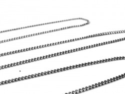 1 m chaine gourmette noir metallisé - 1 mm