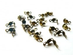20 bronze-coloured bead tips - Size L