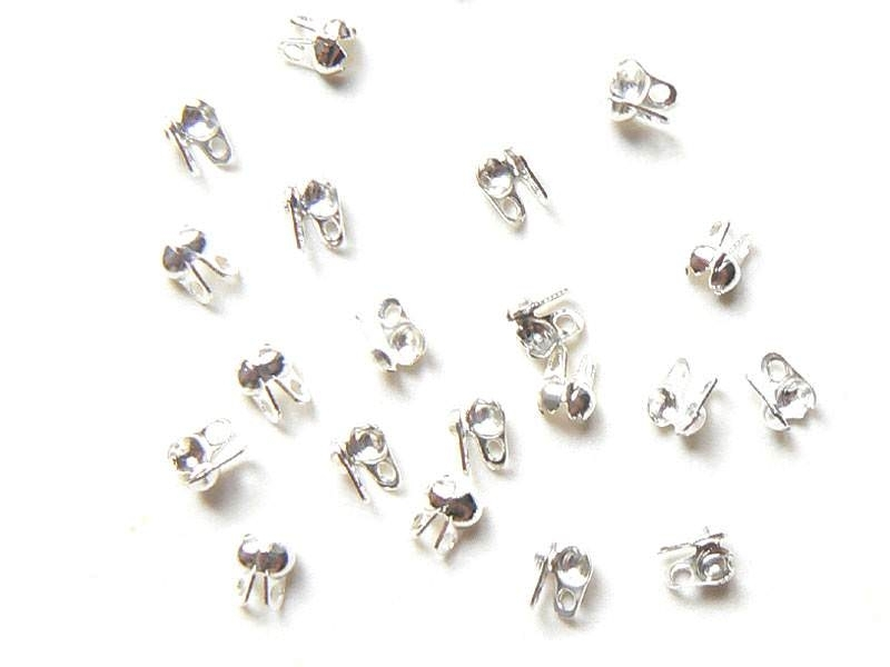 20 light silver-colouerd bead tips - Size S