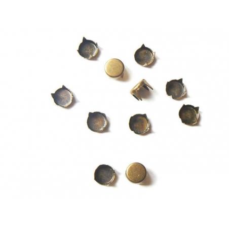 10 clous à griffes rond 7 mm- couleur bronze  - 2