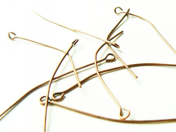 10 copper-coloured eye pins - 50 mm
