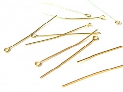 10 gold-coloured eye pins - 40 mm