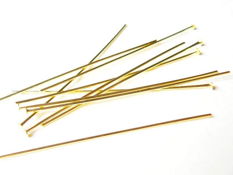 10 clous dorés à tête plate - 50 mm  - 1