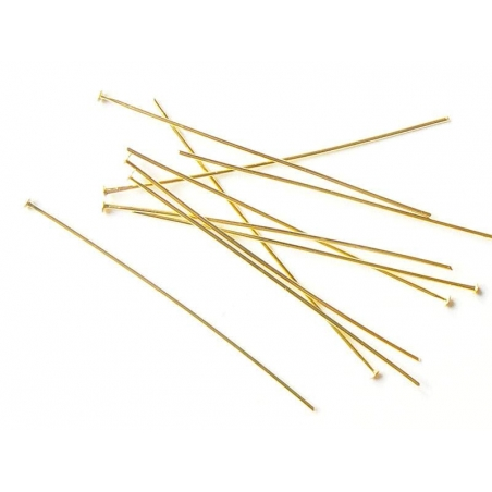 10 clous dorés à tête plate - 50 mm  - 2