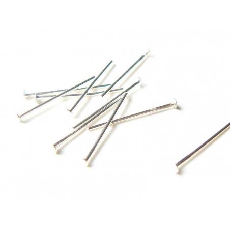 10 silver-coloured head pins - 20 mm