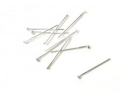 10 clous argentés à tête plate - 20 mm