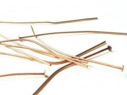 10 clous cuivrés à tête plate - 50 mm