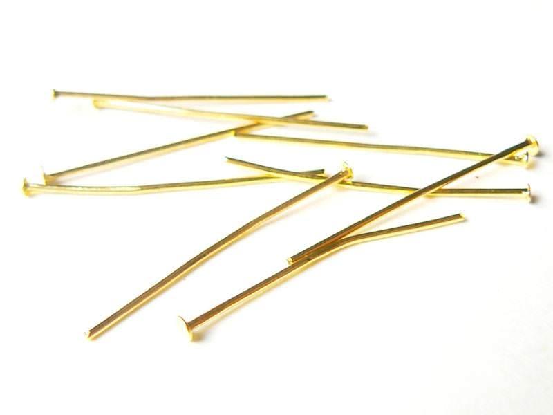 10 clous dorés à tête plate - 30 mm  - 1